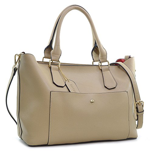 dasein-2-in-1-saffiano-faux-leather-satchel-with-front-snap-pocket-beige