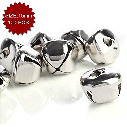 Aspire Cross Silver-plated Decorative Bells, 15mm, 100pcs