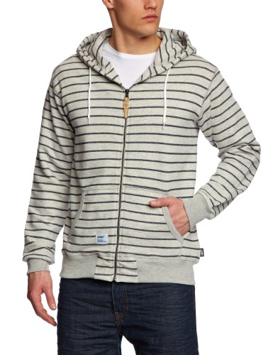 Addict Entry Supply Zip Hood Stripe Men's Sweatshirt Marl/Navy X-Large
