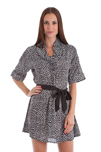 2LUV Women's Animal Print Cowl Neck Sash Belt Dress