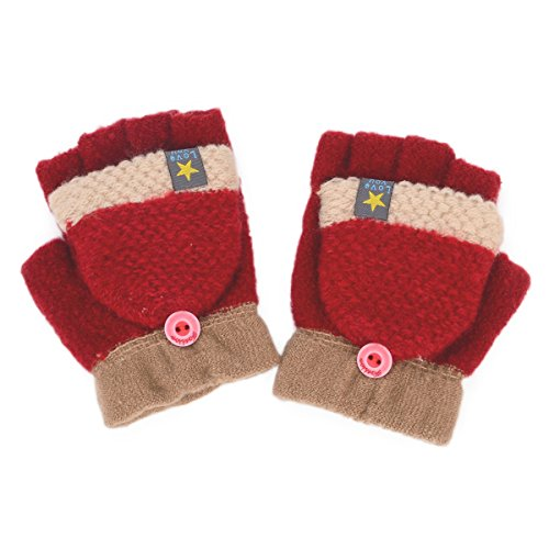 Flammi Unisex Kids Knitted Convertible Flip Top Gloves Mittens Winter Half Finger Gloves (Pair) (Red) (Kids Convertible Gloves compare prices)
