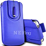 N E Fing Dark Blue PU leather magnet button Pull Tab Case and Mini Stylus for LG GM360 Viewty Snap(s)