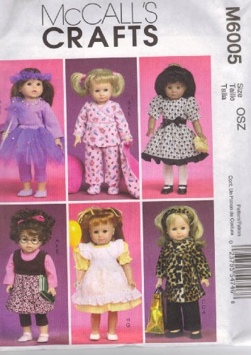 McCall's Patterns M6005 Clothes and Accessories for 18-Inch Doll, One Size Only