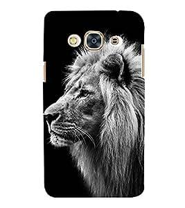 BLACK AND WHITE VINTAGE SIDE POSE OF A LION 3D Hard Polycarbonate Designer Back Case Cover for Samsung Galaxy J3 Pro :: Samsung Galaxy J3 (2017)