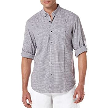 Slim Fit Long Sleeve Cotton Gingham 2 Pocket Shirt by Cubavera.