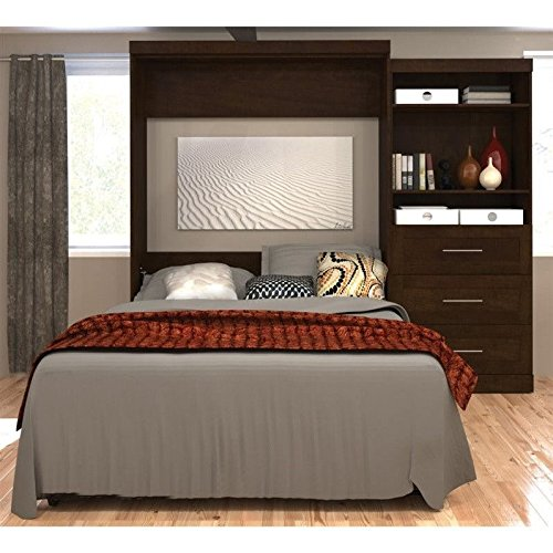 Bestar Pur Queen Wall Bed with Storage in Chocolate (Pur By Bestar compare prices)