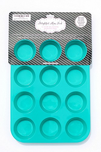 Delightful-Mom-Food-Premium-Muffin-Pan-12-Cup-Non-Stick-Silicone-Baking-Pan-No-More-Sticking-or-Scrubbing-BPA-Free-Dishwasher-Safe-Plus-E-Book-with-Easy-Healthy-Muffin-Tin-Recipes