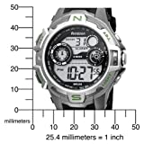Armitron Men's 408197GRN Sport Silver-Tone Silver and Green Accented Digital Watch
