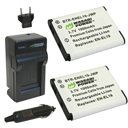 Wasabi-Power-Battery-(2-Pack)-and-Charger-for-Nikon-EN-EL19-MH-66-and-Nikon-Coolpix-S100-S2500-S2600-S2700-S2750-S3100-S3200-S3300-S3400-S3500-S3600-S4100-S4150-S4200-S4300-S4400-S5200-S5300-S6400-S6500-S6600-S6800