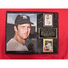 Thurman Munson New York Yankees 2 Card Collector Plaque w 8x10 RARE ROOKIE Photo by J & C Baseball Clubhouse