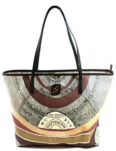 Gattinoni Donna Borsa Ade Horizontal Bag Tote 6 Zip Cm 35x31x14 Bordo