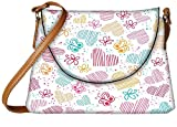 Snoogg Multicolor Hearts And Butterflies Designer Womens Carry Around Sling Bags