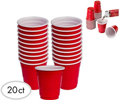 20pc ALAZCO Red Cup Mini Party Shot Glasses Set 2-Ounce Fun BBQ Picnic Christmas Holiday Tailgate Super Bowl Party (Mini Solo Cups compare prices)