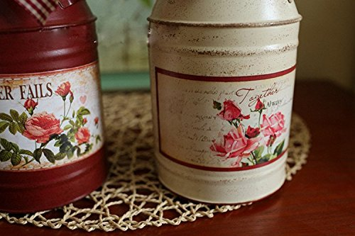 VANCORE(TM) French Style Rustic Shabby Chic Mini Metal Vase Holder Can Container with Tied Bands and Flower Decoration 3