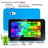 ProntoTec 7 Inch Touch Screen Tablet Pc,Dual Core 1.2 Ghz, Android 4.2.2, 4gb, Ddr3 512mb Ram, Dual Camera, Wi-fi, G-sensor(blue) from ProntoTec