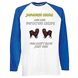 Dogs are like Chips Collection 2, Fruit of the Loom Mens Long Sleeve Baseball White / Royal Blue Tee T shirt with Colourful Design. Sizes S M L XL 2XL.