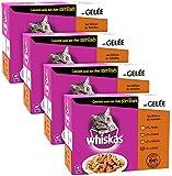 WHISKAS® - Sélection à la Volaille en Gelée 1+ - Sachets Fraîcheur pour chats 12 x 100g - Lot de 4