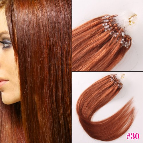 20inch 100% Human Hair Extension 50g Micro Loop Remy Hair #30 Light Auburn at Amazon.com