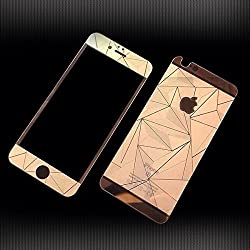 Kapa 3D Diamond Pattern Mirror Front + Back Tempered Glass Screen Protector for Apple Iphone 4 4S - Rose Gold