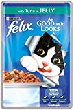 Felix As Good as it Looks with Tuna in Jelly 100g Pouch Cat Food (1 box of 20 pouches)