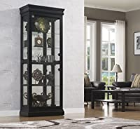 Bell'O CC30-9643-X334 Louie 64 Inch Lighted Floor Standing Wall Keepsakes Curio Cabinet with 4 Adjustable Glass Shelves, Black by Twin-Star International