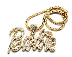 Iced Out Large Gold Barbie Nicki Minaj Pendant with 20 Inch Necklace Chain