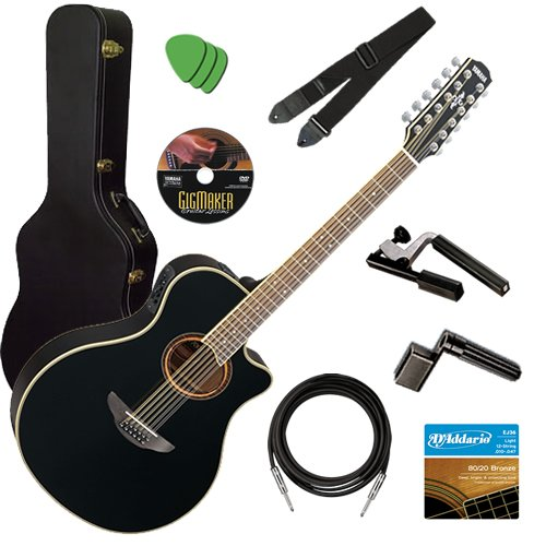 Yamaha APX700II 12-String Black Guitar STAGE BUNDLE w/ Hard