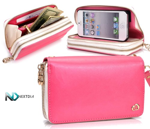 Great Sale Apple iPhone 5 Runway Clutch/Purse by KroO [Pink] Smartphone Case/Wallet with Attachable Wristlet and a Complimentary NextDia ™ Velcro Cable Strap