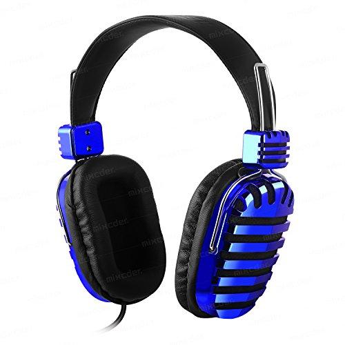 ヘッドフォン オーディオ 有線 ヘッドセット モニターヘッドホン Mixcder Mic5 密閉型 マイク付き(ブルー)