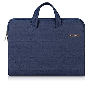 PLEMO Denim Fabric 15-15.6 Inch Laptop / Notebook Computer / MacBook / MacBook Pro Case Briefcase Bag Pouch Sleeve, Blue