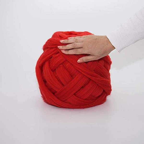 DIRUNEN Merino Wool Yarn Big Chunky Yarn Super Wool Roving Extreme Arm Knitting Giant Chunky Knit Blankets Throws Red 4.4 lbs (Color: Red, Tamaño: 4.4 lbs)
