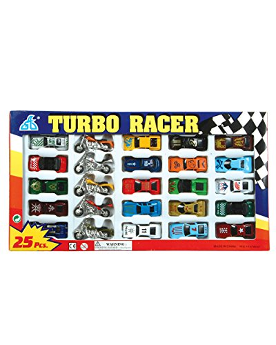 Rhode Island Novelty Turbo Racer Die Cast Car and Motorcycle Set, 25-Piece