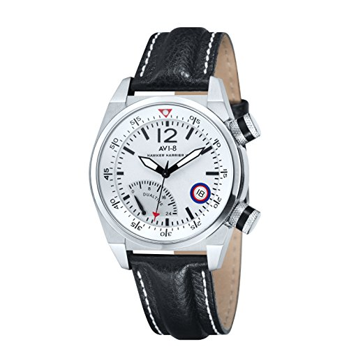 Avi-8 Hawker Harrier II Retrograde Men's Quartz Watch with White Dual Time Dial Analogue Display and Black Leather Strap AV-4004-01