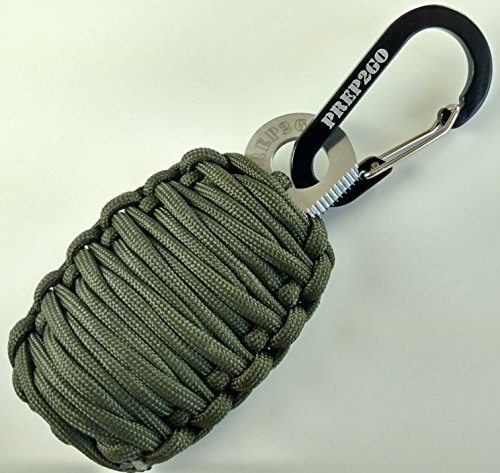 Emergency Survival Kit | Green Paracord Keychain: 25 Tools Bonus Wilderness Prepper Kit w/ Ferro Rod Fire Starter, Flint Striker, Tinder, Knife, Fishing Kit for Hunting, Fishing, Hiking and Camping (Trout Starter Kit compare prices)