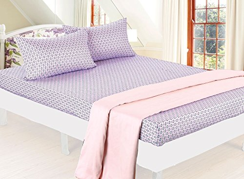 Bed Sheet Bedding Set, Beautiful Children Prints for Boys / Girls Kids & Teens, Full (Double) Size, Geo Purple & Green Pattern with Coordinating Peach Flat Sheet - Clara Clark (Girls Sheets Full compare prices)