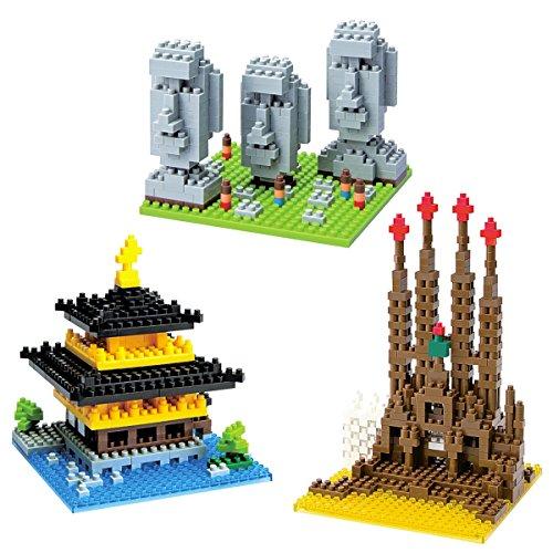 3 Nanoblock Building Block Sets Toys Easter Island - Kinkaku-ji - Sagrada Familia