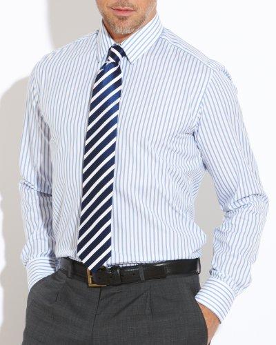 Savile Row Men's White Blue Stripe Small Collar Slim Fit Formal Shirt Neck Size 17.5