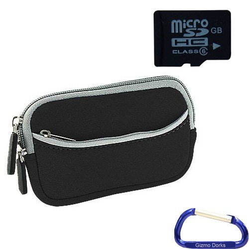 Gizmo Dorks Soft Neoprene Zipper Case (Black with Grey Trim) and 8 GB microSD Memory card (SD Adapter included) with Carabiner Key Chain for Digital Cameras