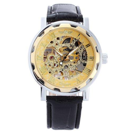 Winner-Herrenuhr-Selbstaufzug-mechanische-Uhr-Leder-armbanduhr-golden
