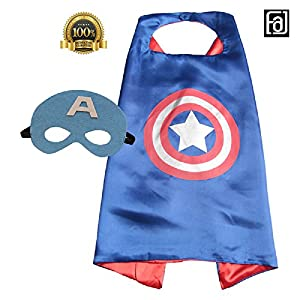 FAJ Superhero Cape and Mask, Children, Boys/Girls Dress Up Costume for Halloween