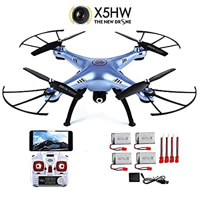 CreaTion® Syma X5HW-With Camera 2.4G Wifi Real-time Transmission Aerial Remote Control Quadcopter Drone (Extra 4pcs Batteries $ 4 in 1 Charger & 5pcs Adapter Cable) by CreaTion