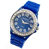 Royal Blue Geneva Silicone Ceramic Style Wrist Watch Surrounded with Silver Trim and Sparkly Rhinestones