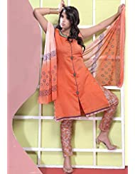 Utsav Fashion Women's Light Orange Chanderi Art Silk Readymade Kameez With Straight Pant-Small