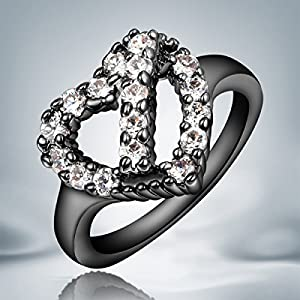 MyTime Ring : Fine Jewelry Fashion CZ Diamond Heart Shaped Black Gold Ring For Women Lady's Size 6/7/8 With a Ring Box Gift 8.0