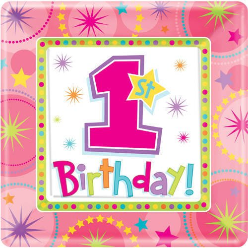 plate 10 inches square one-derfuniveral birthday girl