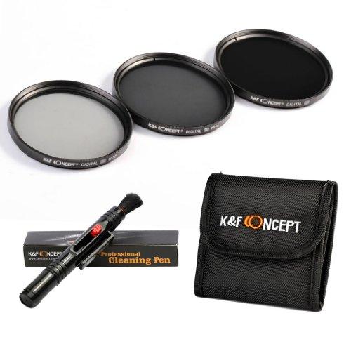 K&F Concept 77Mm Nd2 Nd4 Nd8 Lens Accessory Filter Kit Netral Density Filter For Canon 6D 5D Mark Ii 5D Mark Iii For Nikon D610 D700 D800 Dslr Cameras + Cleaning Pen + Filter Bag Pouch