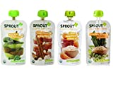 Sprout Organic Baby Food Pouch Variety Pack: (1) Sprout Organic Pear, Kiwi & Spinach, (1) Sprout Organic Sweet Potato & White Bean, (1) Sprout Organic Carrot, Sweet Potato & Brown Rice, and (1) Sprout Organic Sweet Peas, Greens & Brown Rice, 4.0 Oz. Ea. (4 Pouches Total)
