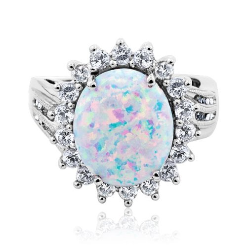 Created Opal, Created White Sapphire, and Diamond Ring - Size 7.5