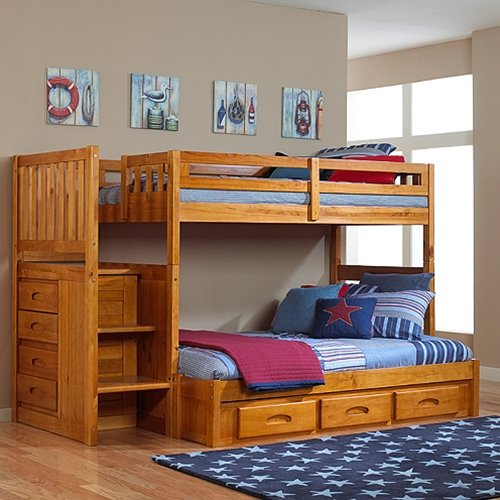 Discovery World Furniture - Honey Mission Staircase Bunk Bed Twin/Full With 3-Drawer Storage
