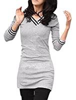Women V Neck Long Sleeve Top Stripe Detail Slim T Shirts